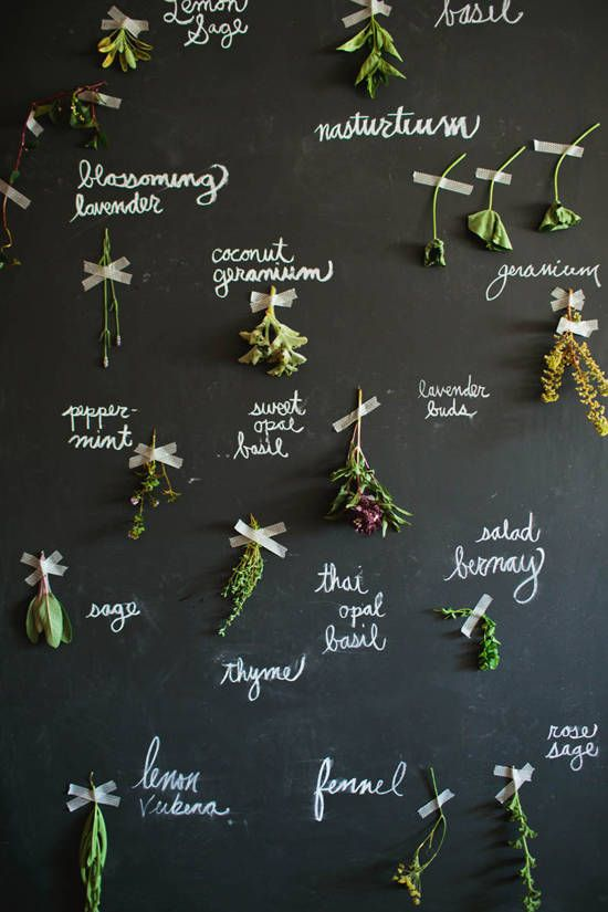 The Flower Shop: black wall setup with herbs and floral arrangements