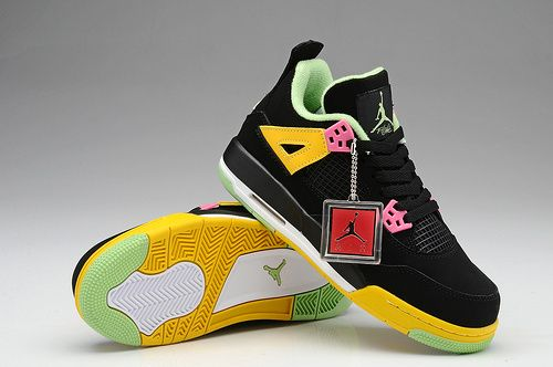 Womens Air Jordan Retro 4 AJ4 Basketball Shoe Black Yellow Green|only  US$89.00 -