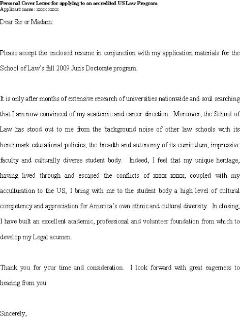 Good cover letter for JD (juris doctorate) applicant with ...