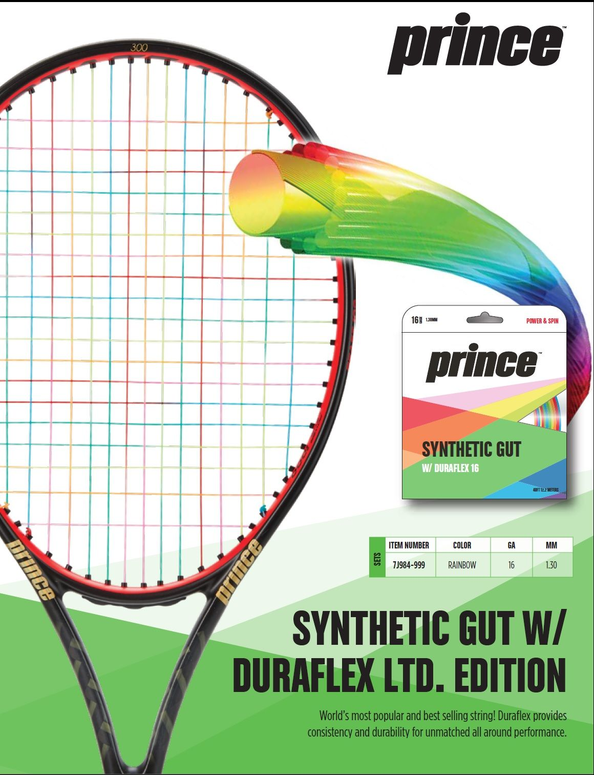 Prince Synthetic Gut W Duraflex Limited Edition Sportsmatch Prince Synthetic Tennis Accessories