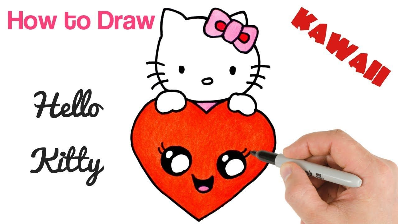 How To Draw Hello Kitty With Love Heart Easy Drawings For Kids Easy Drawings For Kids Easy Drawings Hello Kitty
