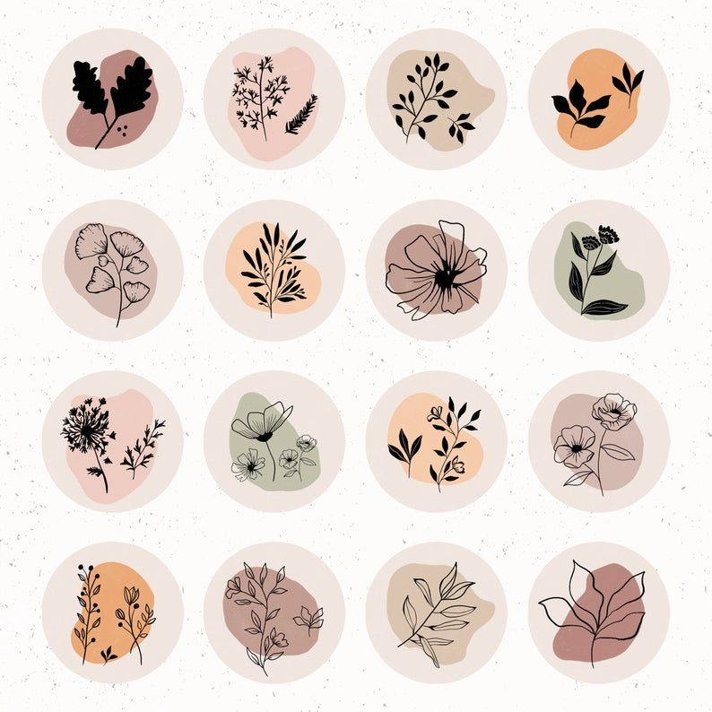 Botanicals Wildflowers | Instagram Highlight Covers , Instagram Highlights, Instagram Story, IG Highlight, Warm Colours, Autumn, Fashion