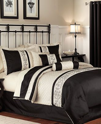 Cream and black comforter set | Black comforter sets ...
