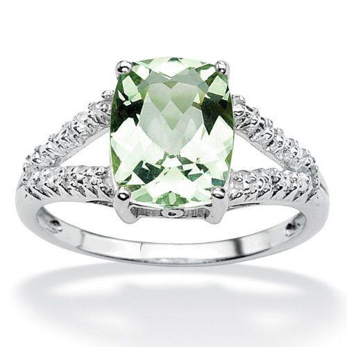 Brilliant Green Amethyst 925 Silver Ring Round Cut - Size O (7) VBZlrfrBTV