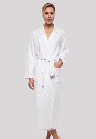 Quilted White Long Wrap Around Dressing Gown in Softest Modal Mix ...