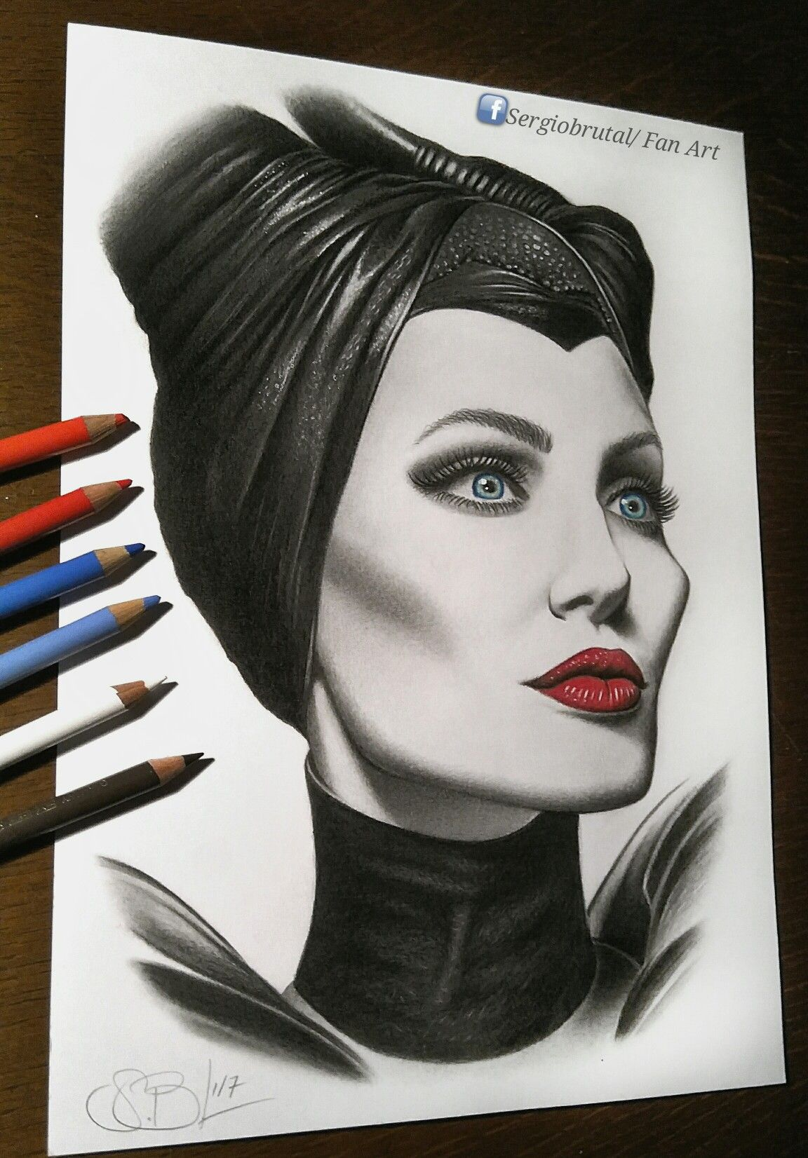 Maleficent angelina jolie drawing pencils