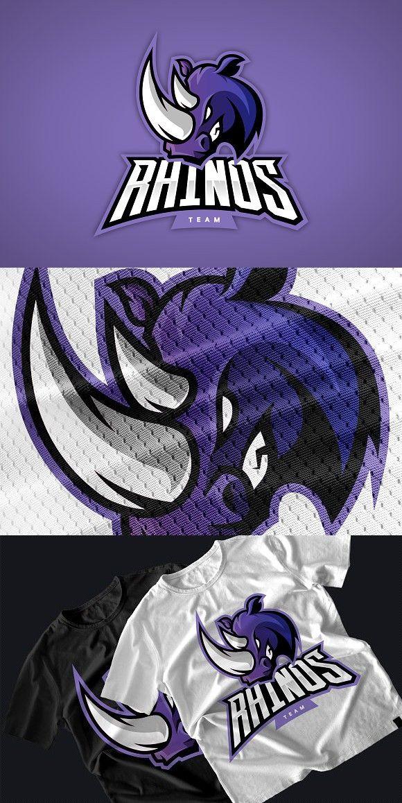 Rhino mascot sport logo design. Premium Icons