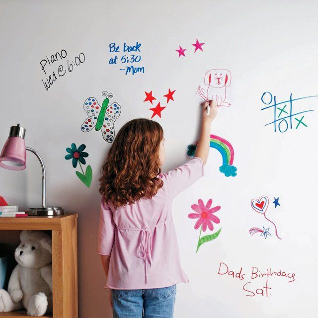 The RustOleum Dry Erase Board Paint Kit helps you create an erasable writing surface on walls, doors, windows, cabinets, toy chests and message boards.