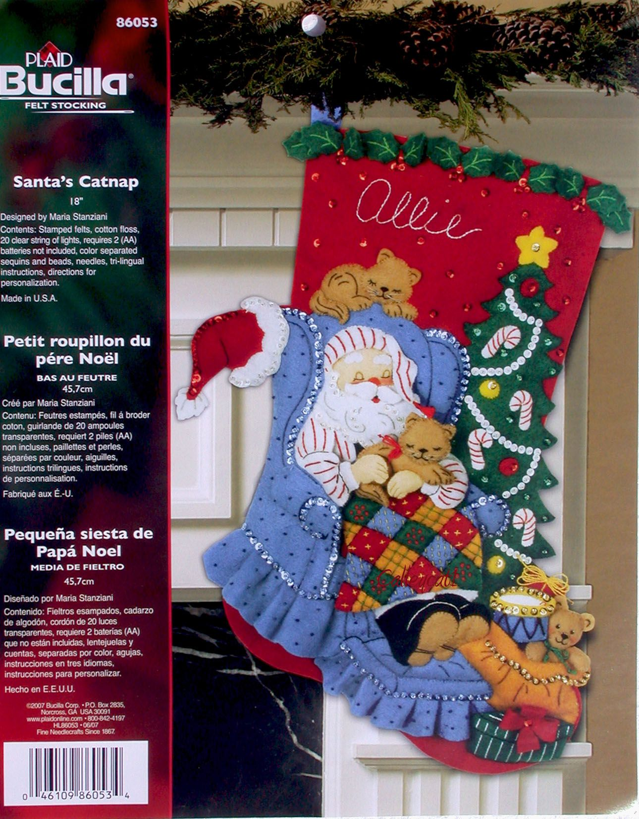 Santa S Catnap 18 Bucilla Felt Christmas Stocking Kit 86053