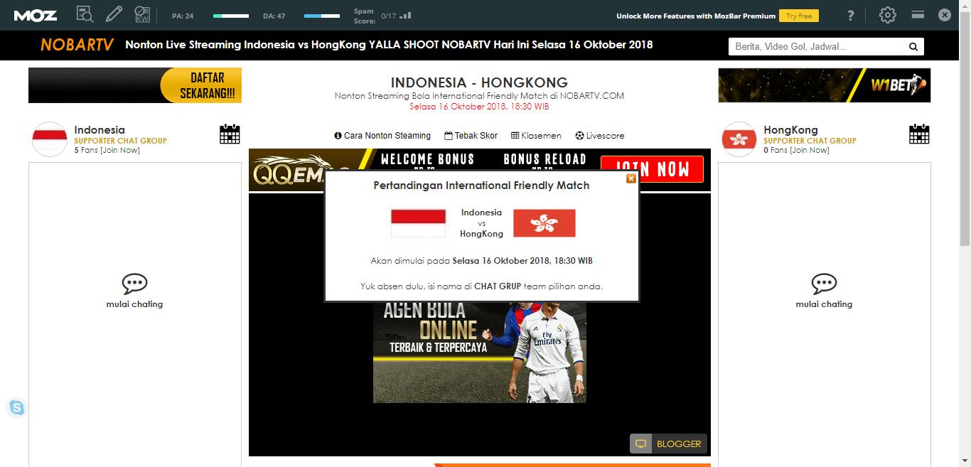 Nonton Live Streaming Indonesia Vs Hongkong Yalla Shoot Nobartv Hari Ini Selasa