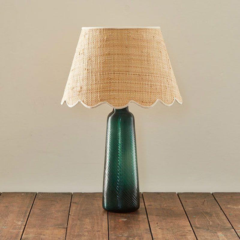 Scallop raffia lampshade with cream cotton trim 14″ rita konig