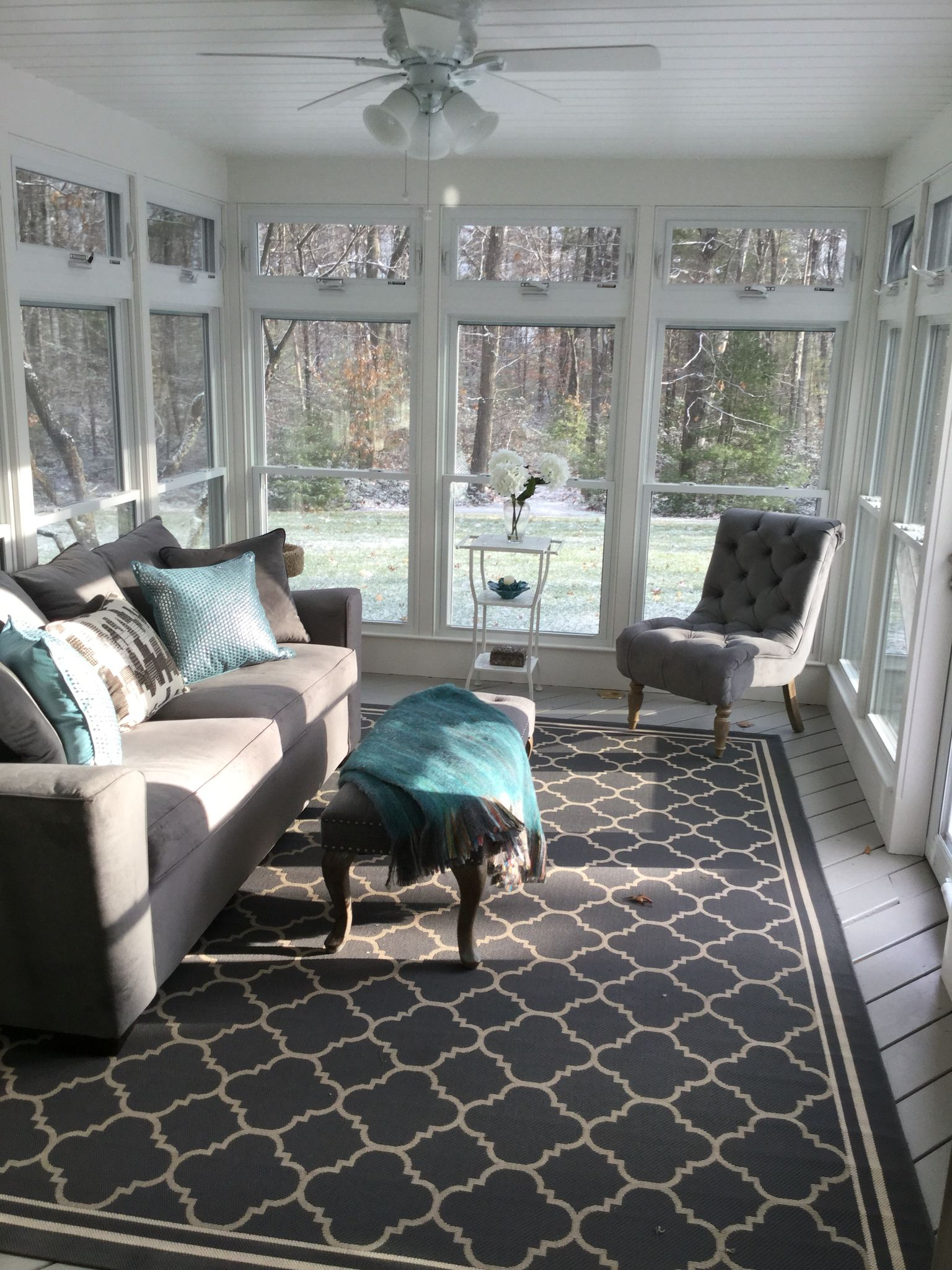 Converted A Brown Screened In Porch To This 3 Season Sanctuary House With Porch Sunroom Decorating Porch Furniture