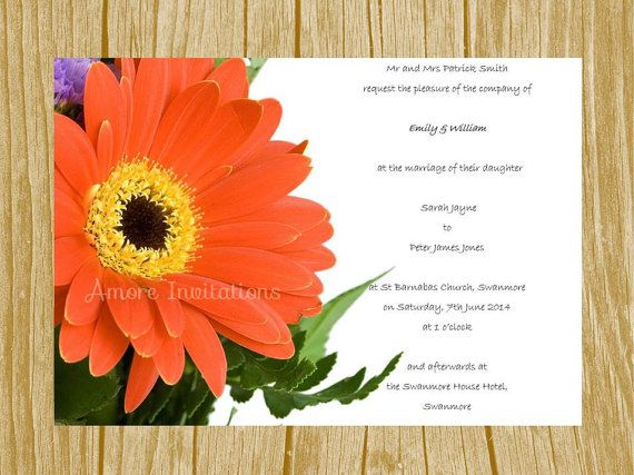 Digital Printable Red Gerbera Floral Flower Wedding   Birthday - microsoft birthday invitation templates