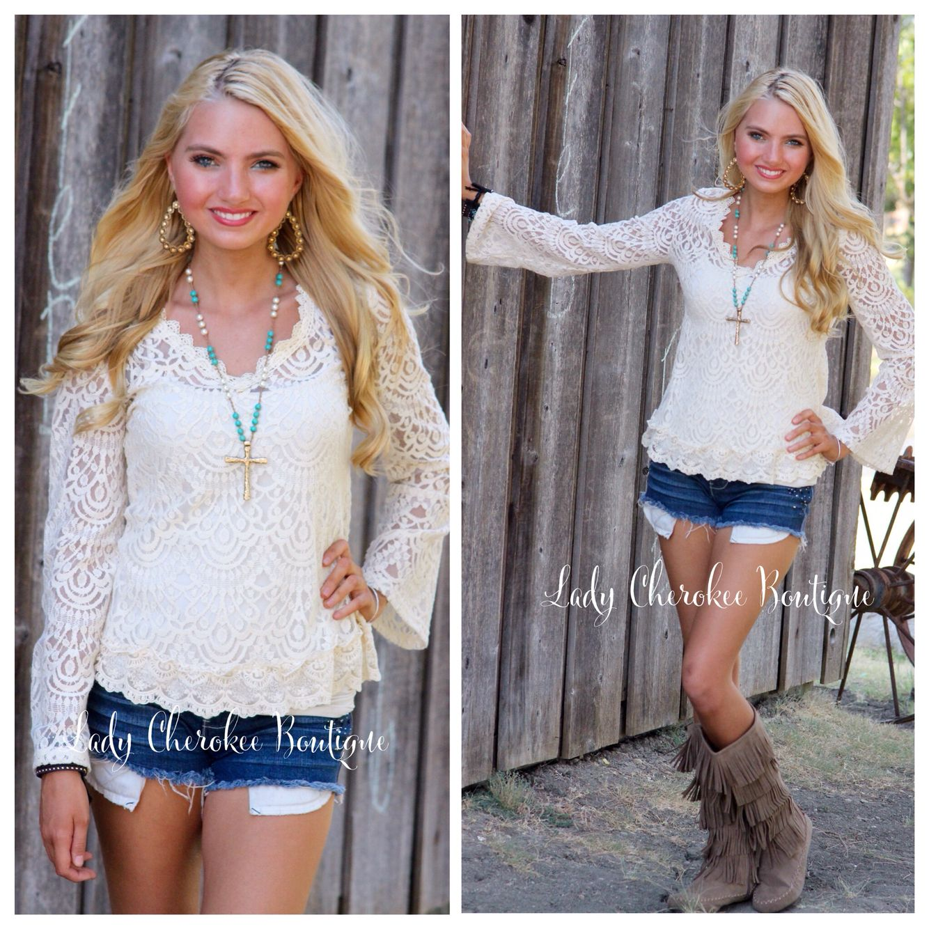 Here You Come Again IVORY LACE DETAIL FLARE SLEEVE TOP  Price: $34.00, FREE SHIPPING  #lace #top #womensfashion #ladycherokeeboutique