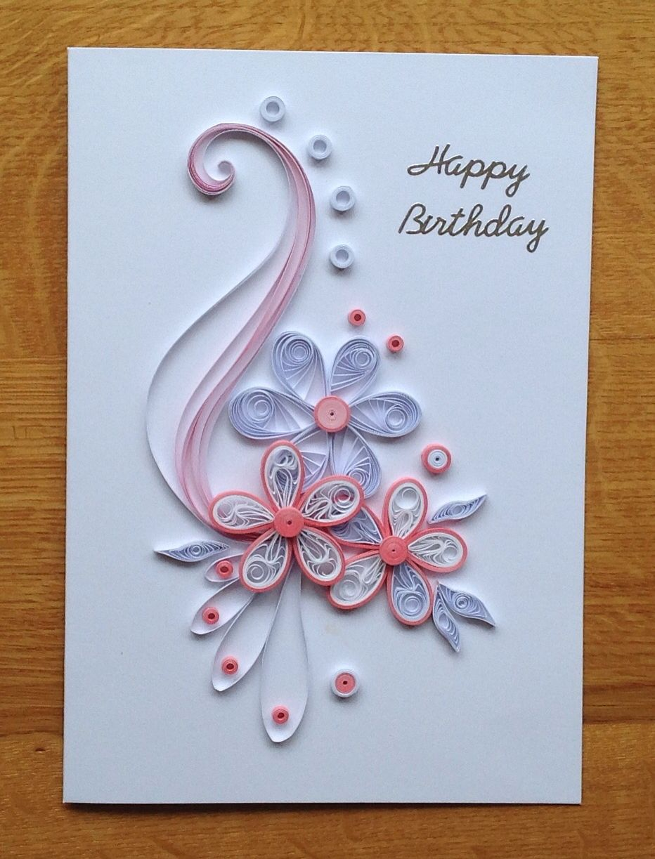 Quilling Pink And White Birthday Card