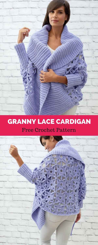 Granny Lace Crochet Cardigan [ FREE CROCHET PATTERN   Pinterest ...