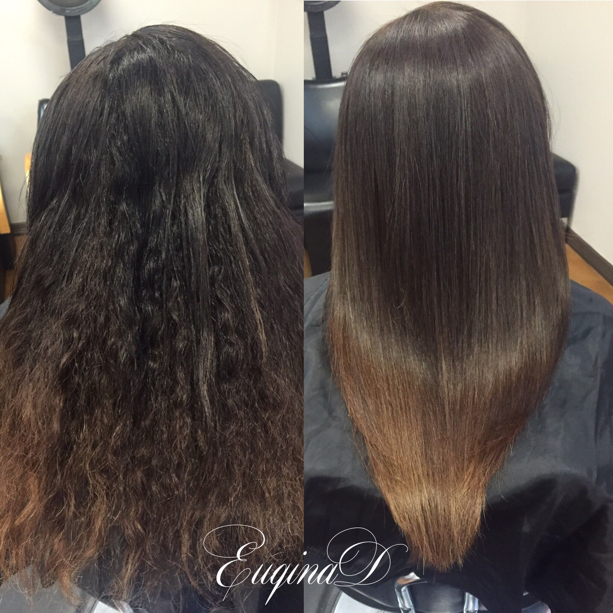 Brazilian Blowout On Curly Hair Ombre By Euqinad Ombre Curly Hair Ombre Hair Hair Tutorial