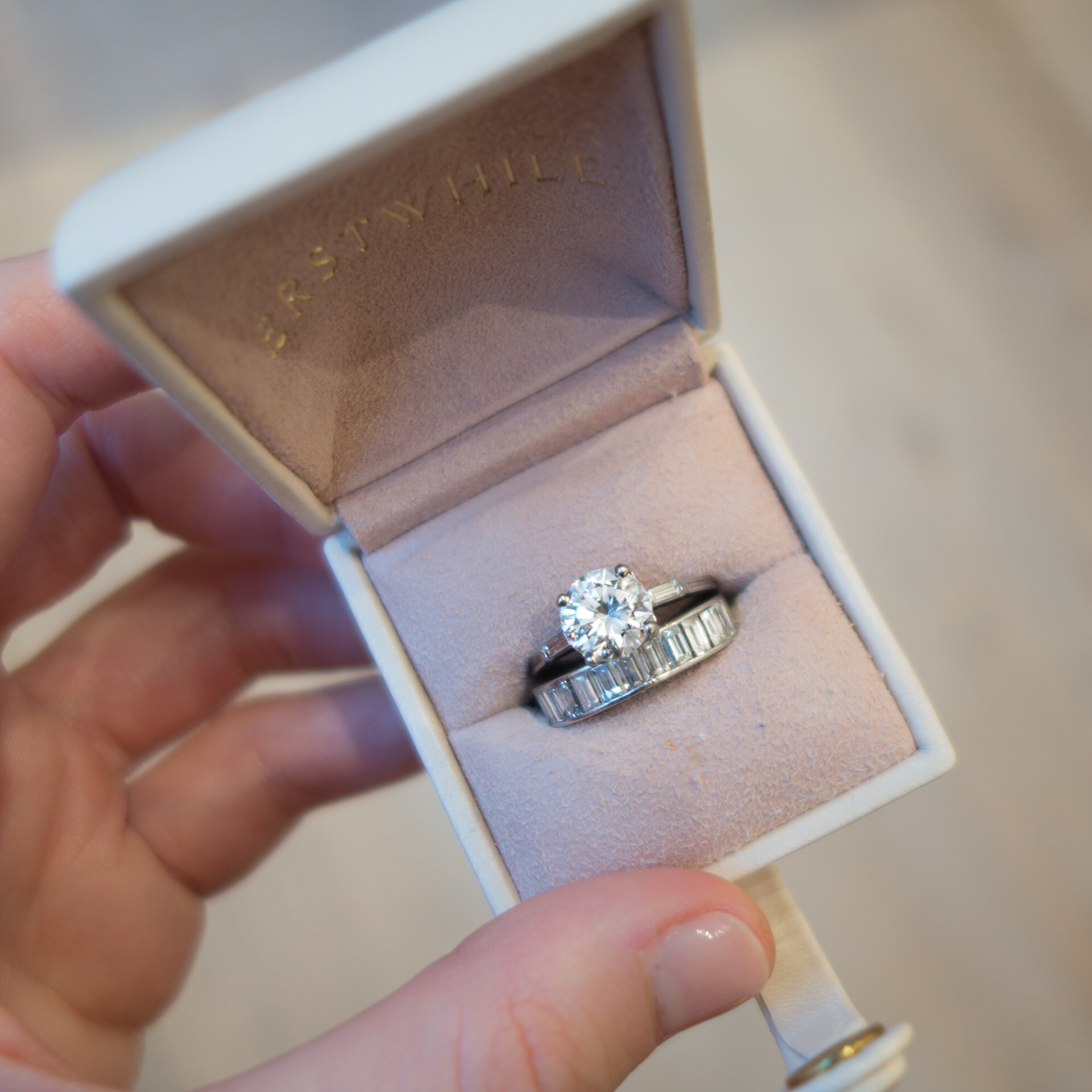 Vintage 1940s Tiffany Co engagement ring set perfectly atop an