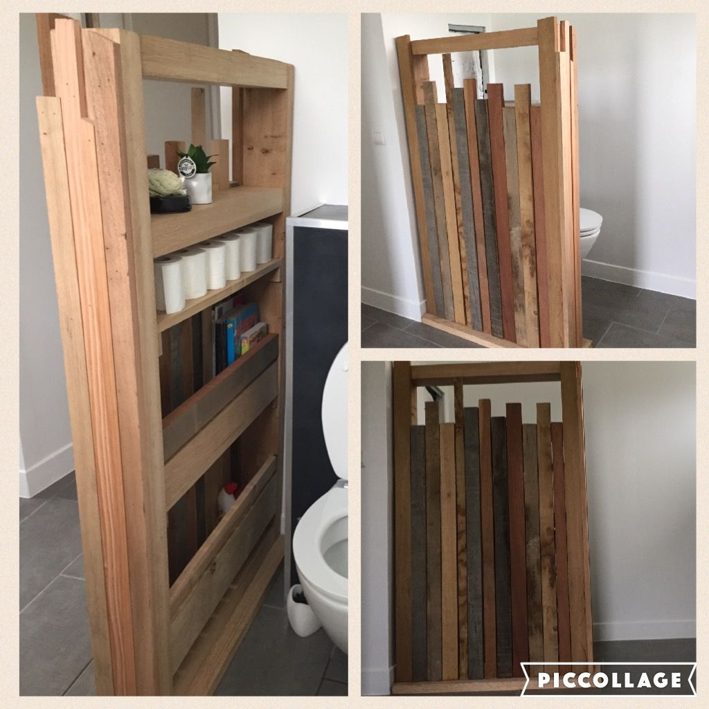 Séparation toilette - Salle de bain en bois récupération