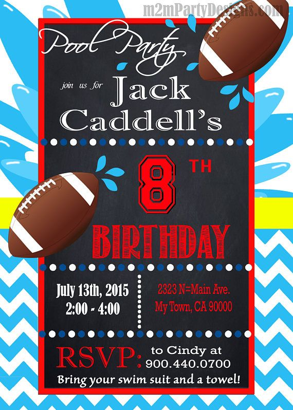 Football Pool Party Invitation Custom Pool Party Water Party