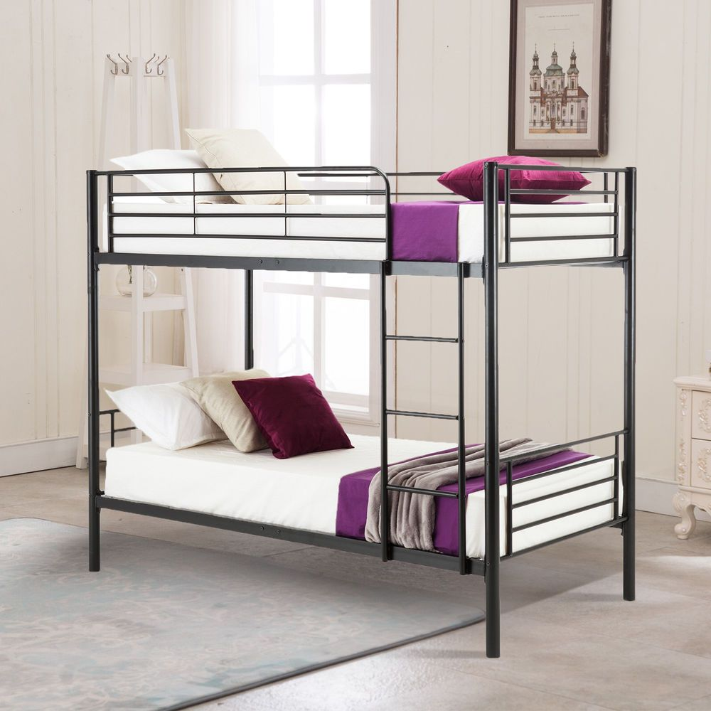 Metal Twin Over Twin Bunk Bed Frame With Ladder For Children Adult