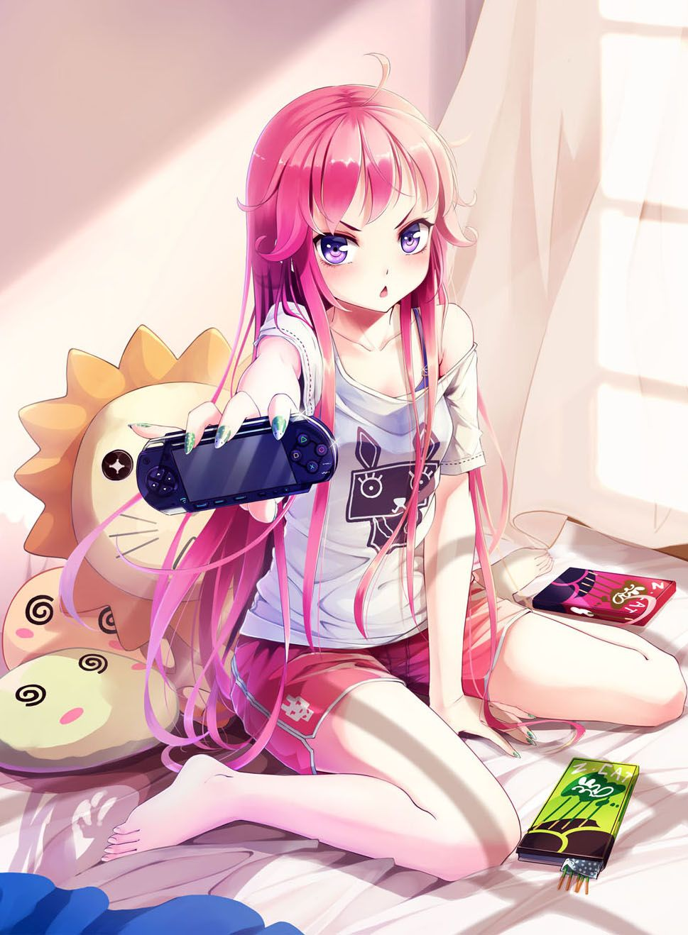 Anime girl with pink hair purple eyes shorts stuffed animals pocky electronic device
