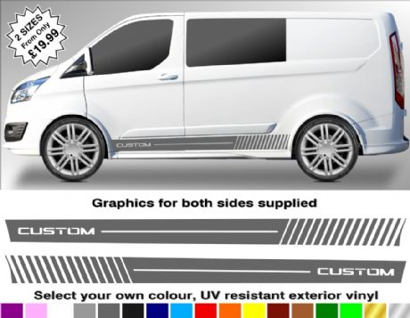 Ford Transit Custom Van Word Gradient Lines Lower Sill Graphics Ft9 Vans Stickers Transit Custom Custom Vans