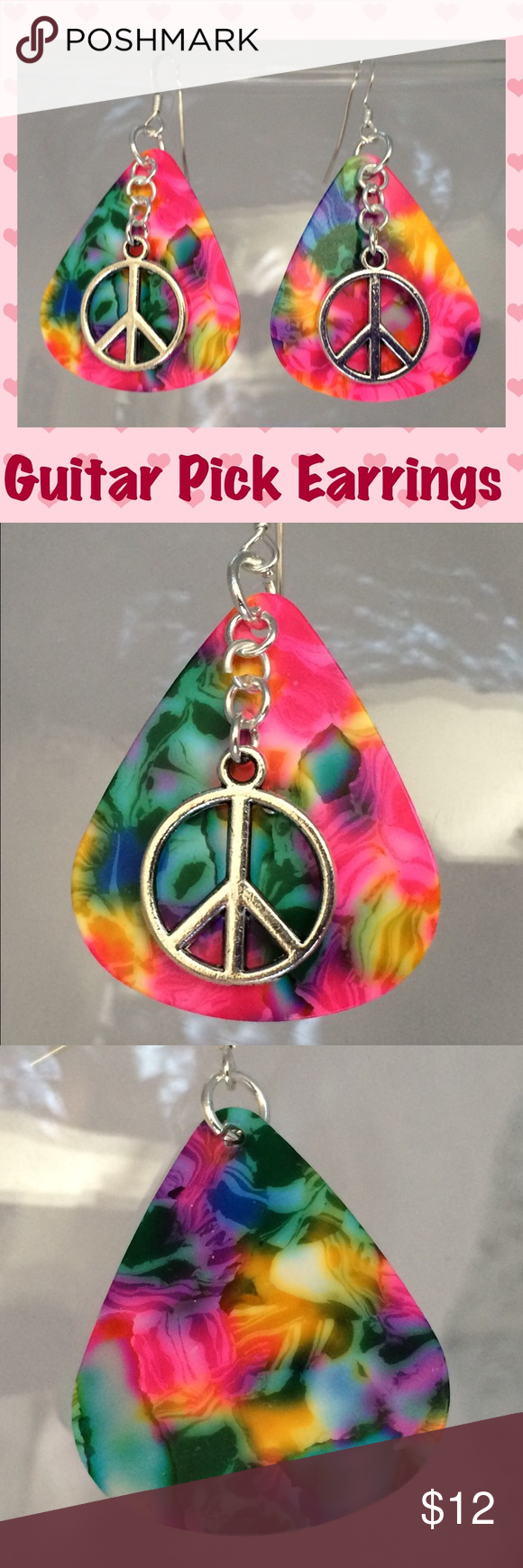 Download COMING SOON🚫Guitar Pick Peace Sign Earrings (With images ...