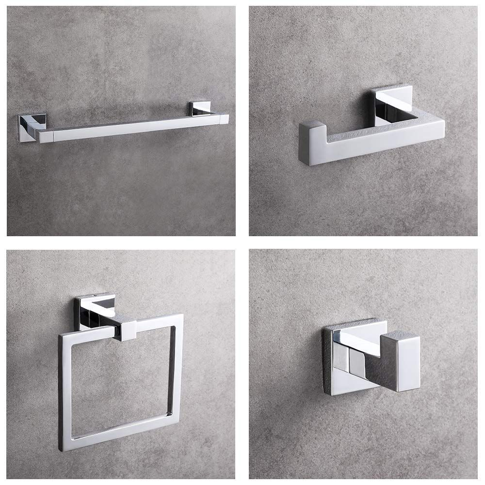 Luckup 4 Piece Bath Hardware Towel Bar Accessory Includes Towel Bar Robe Hook Towel Ring And Toilet Paper Holder 304 St Bath Hardware Towel Bar Steel Wall