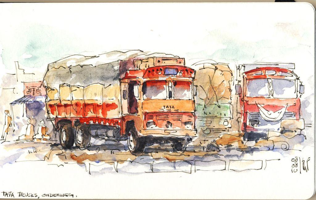 India Tata truck in 2020   Urban sketchers, Urban sketching, Sketch painting