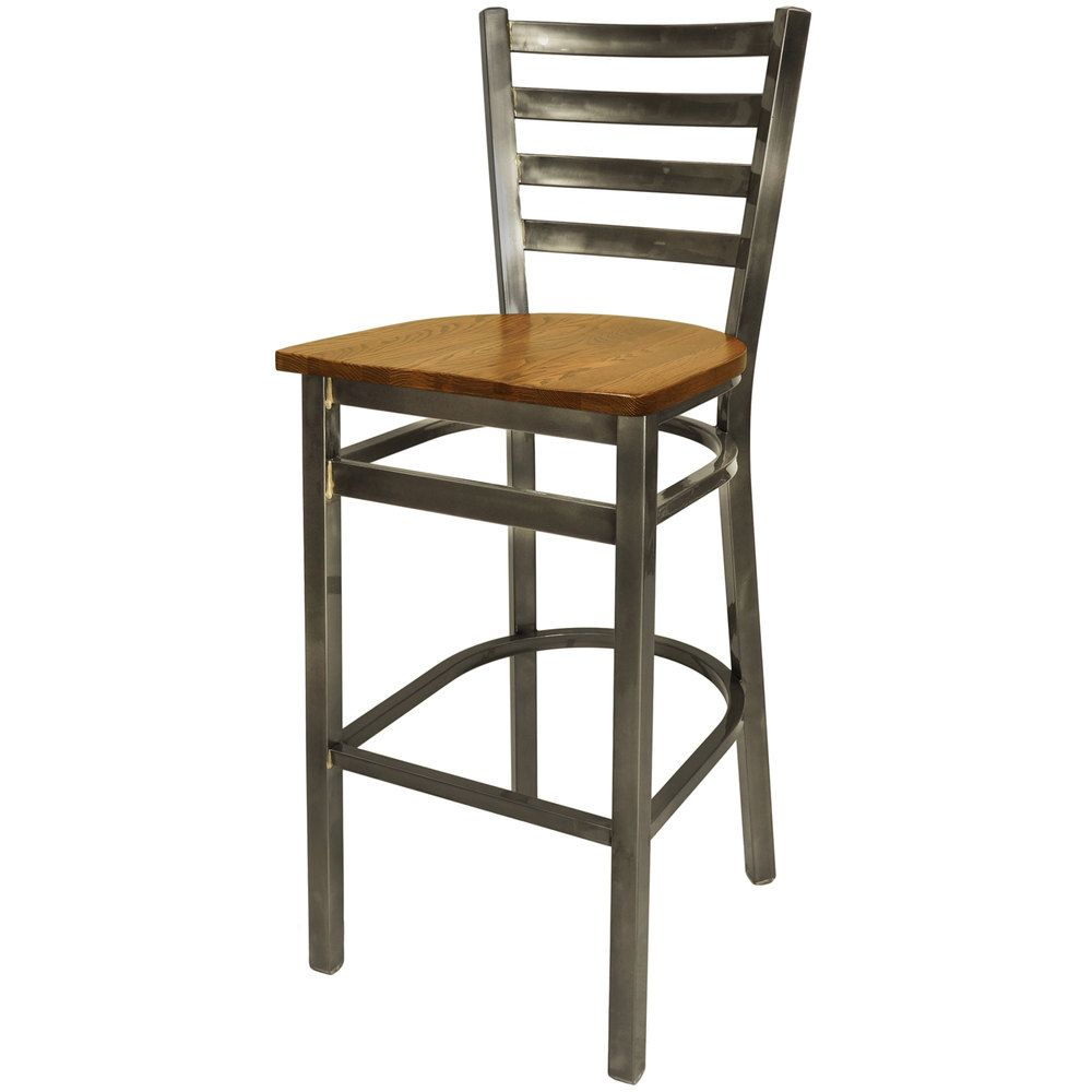 bfm seating 2160bashcl lima steel bar height chair with ash wooden seat and clear