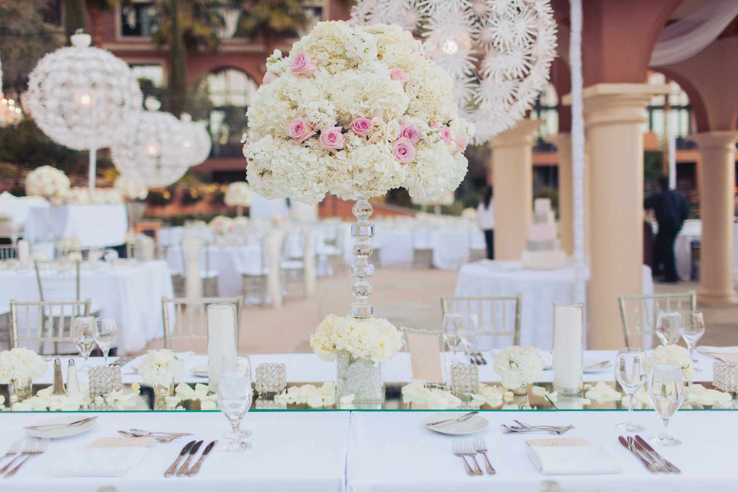 Lux Table Decor and Wedding Centerpieces.  Las Vegas Wedding Planner Andrea Eppolito  |  Wedding at Lake Las Vegas  | White and Blush and Grey Wedding | Luxury Wedding Las Vegas