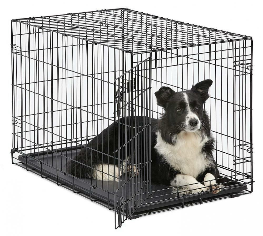 Folding Double Door Dog Crate Cat Crate Cage Kennel Tray Dc Metal Black S M L Xl Midwesthomesforpets