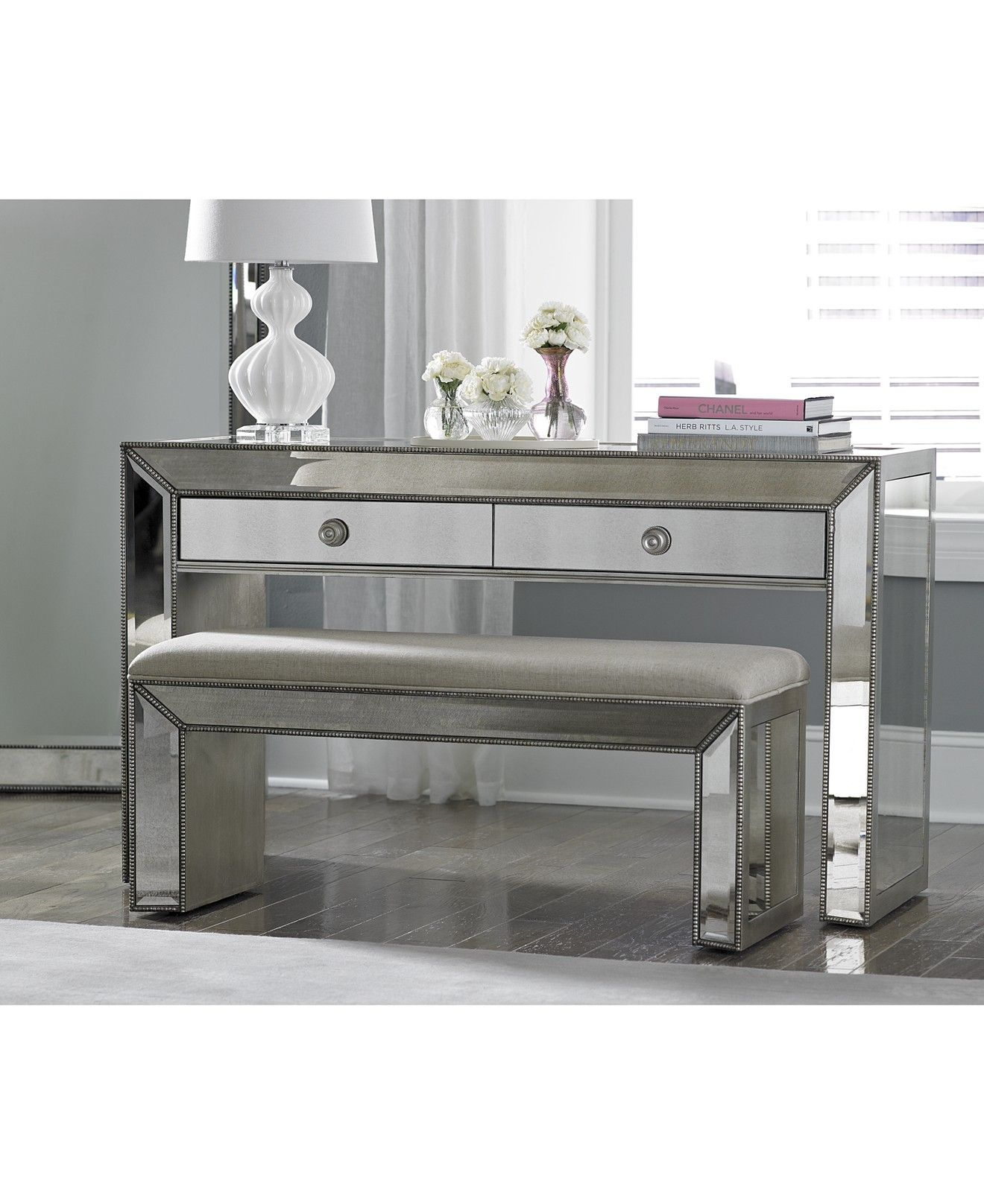 Best Sophia Mirrored Collection 2 Piece Set Console Bench 640 x 480