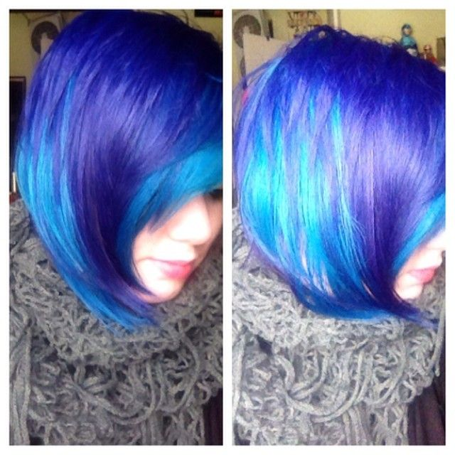 Purple and turquoise blue hair