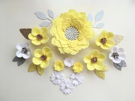 Hand Made Lemon White Felt 3d Flowers Gold Glitter Leaves Felt