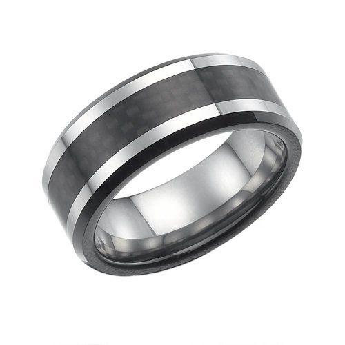 RB Schmuck Herren Ring Wolframcarbid  Solide Carbonfaser
