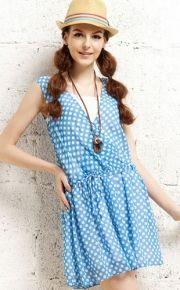 Pretty Dots Printed V-neck Sleeveless Summer Dress