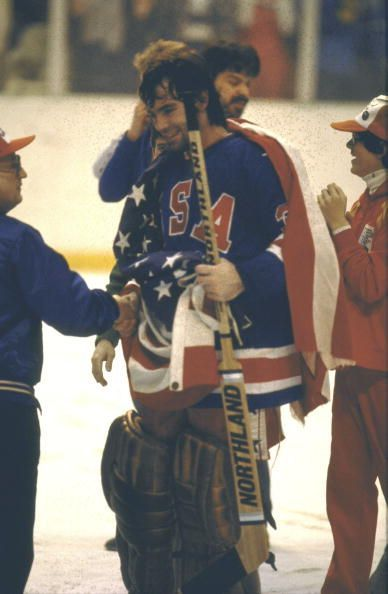 Jim Craig after the game against Finland.