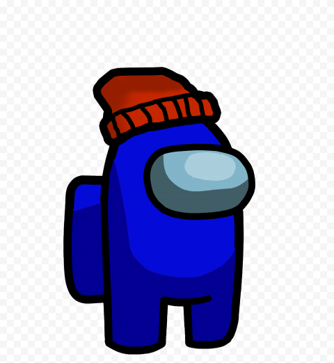Hd Blue Among Us Crewmate Character With Red Beanie Hat Png Red Beanie Hat Red Beanie Beanie Hats