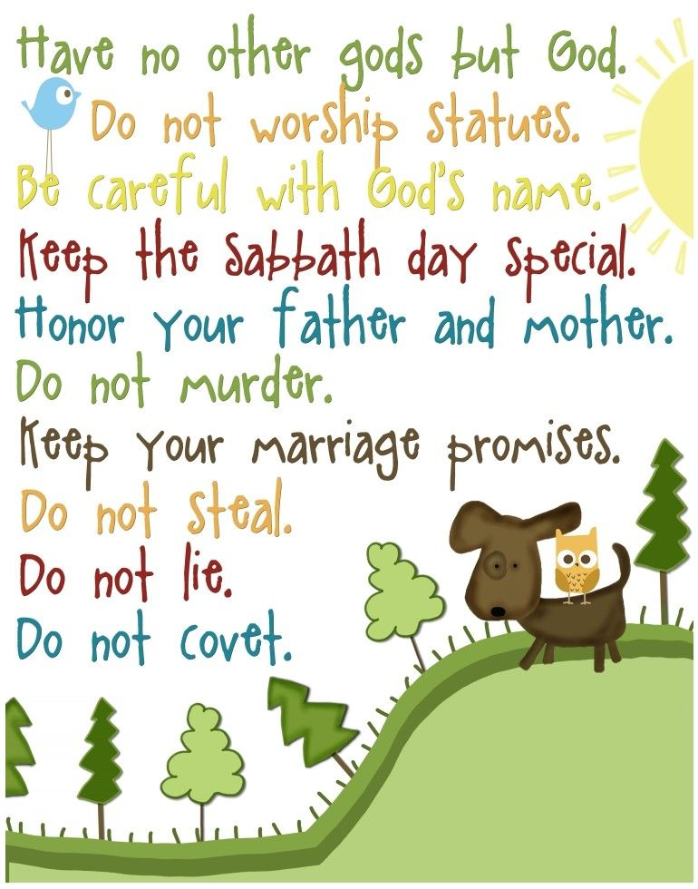 The Ten Commandments for kids...gender neutral...11 by 14 print ...