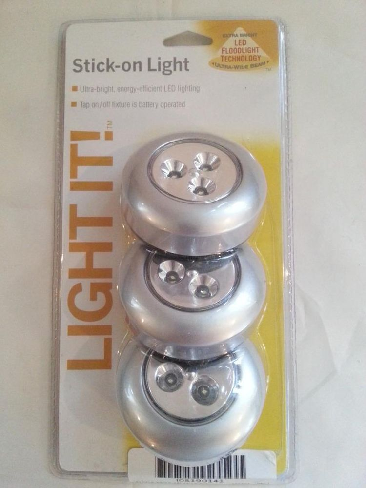 Fulcrum 30010 301 Led Battery Operated Stick On Tap Light Silver 3 Pack Fulcrum Led Battery Operated Light