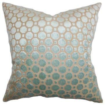 Kostya Geometric Pillow Blue - contemporary - Pillows - The Pillow Collection Inc.