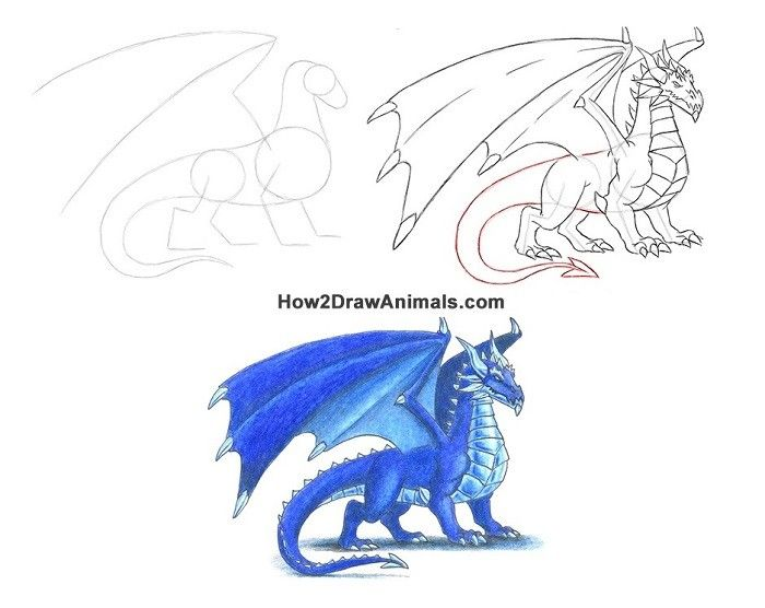 How to draw an Ice Dragon in colored pencil from ...
