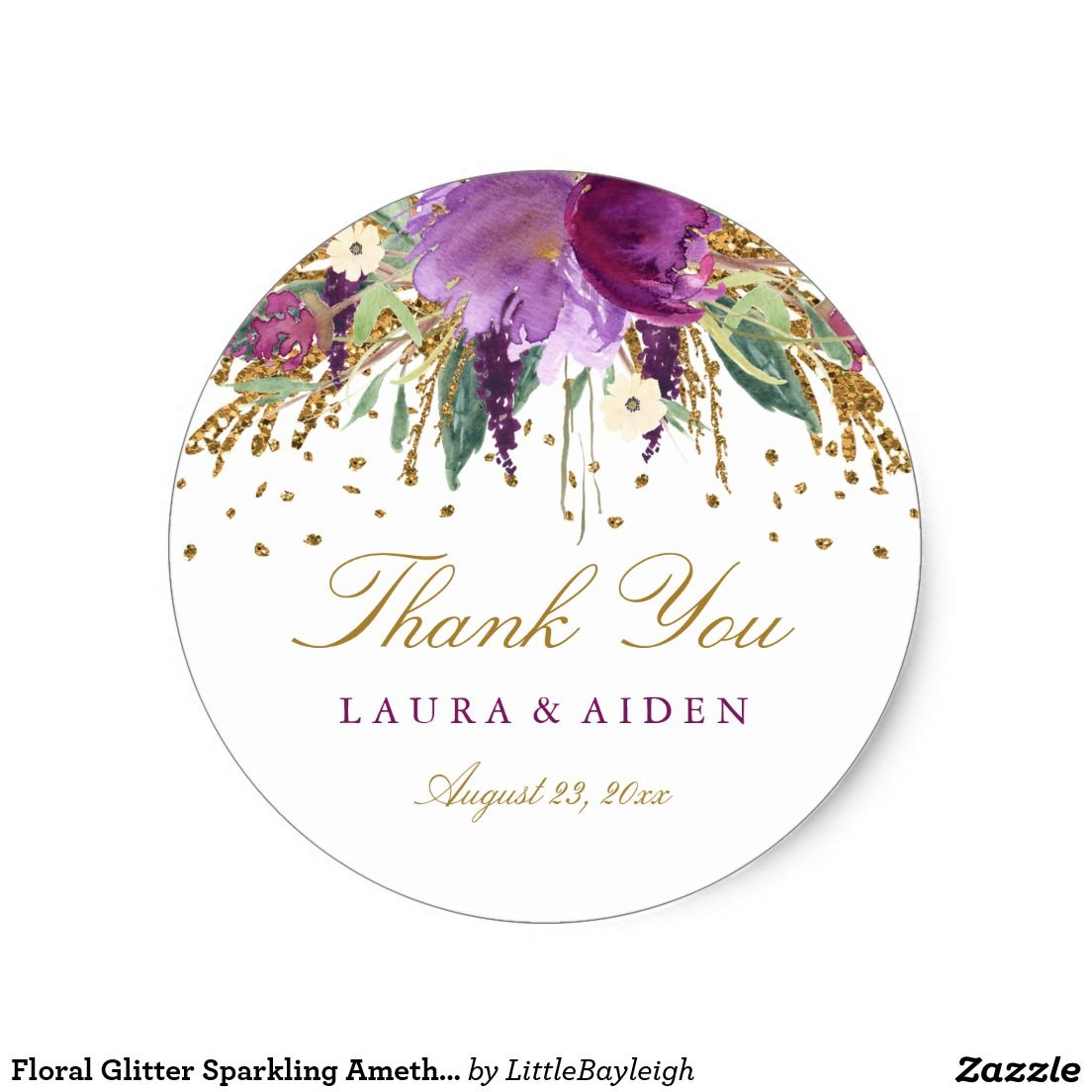 Floral Glitter Sparkling Amethyst Wedding Stickers | { Wedding ...