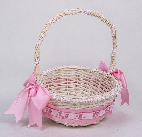 Cesta decorada rosa recherche google primera comunion pinterest Cestas decoracion
