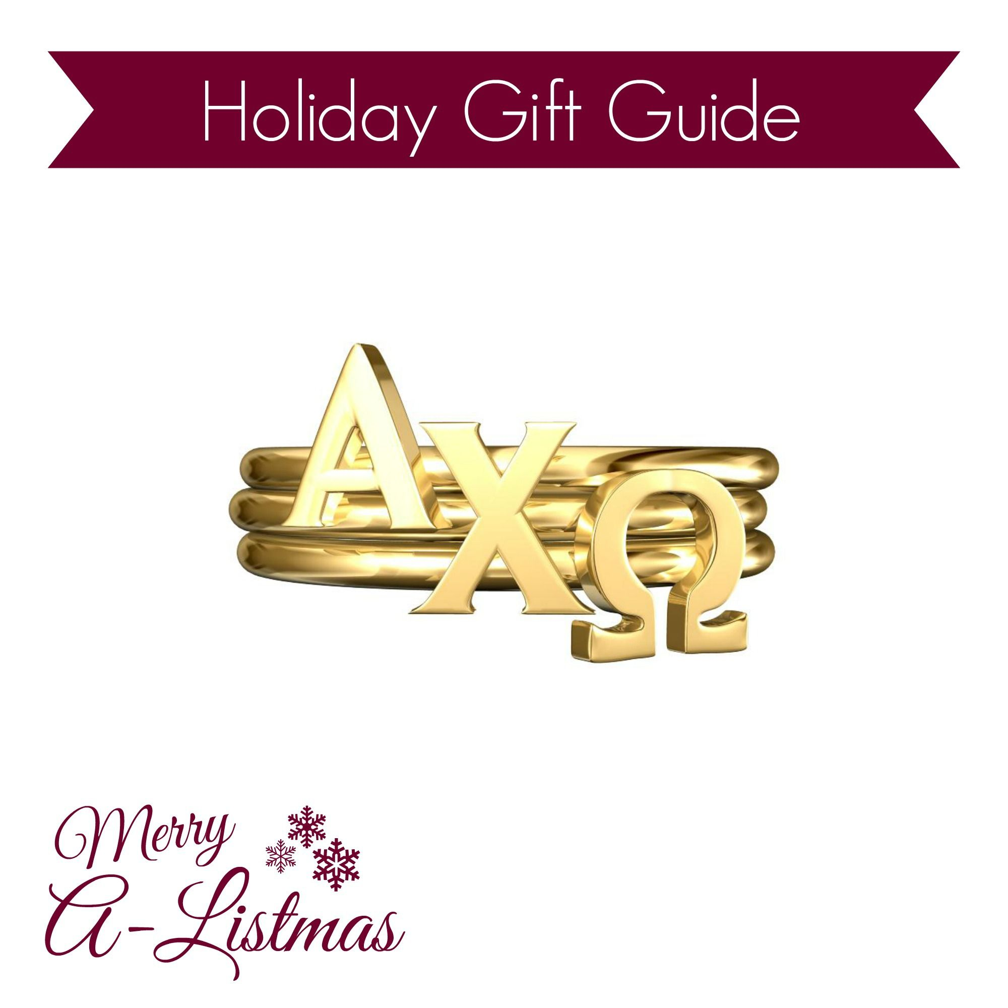 AXO Stack Rings - The perfect sorority holiday gift for your Alpha Chi Omega sisters! Adjustable bands - Available in silver, gold and rose gold.