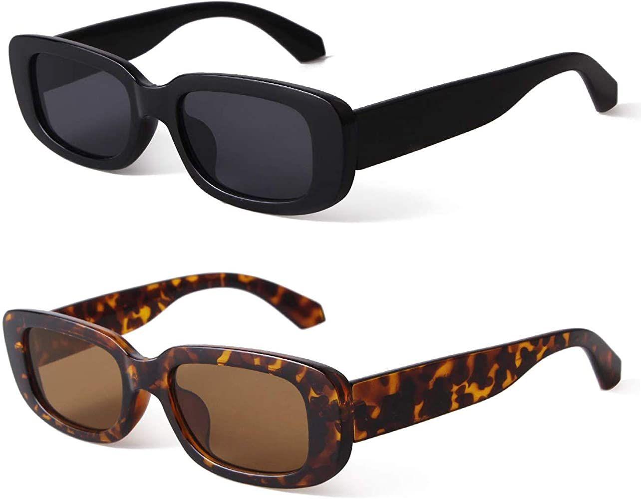 Amazon Com Butaby Rectangle Sunglasses For Women Retro Driving Glasses 90 S Vintage Fashion Narrow Squar Rectangle Sunglasses Retro Sunglasses Glasses Fashion