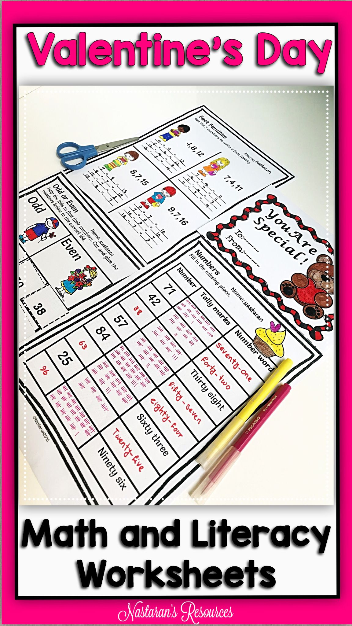 Valentine S Day Activities Math And Literacy Worksheets