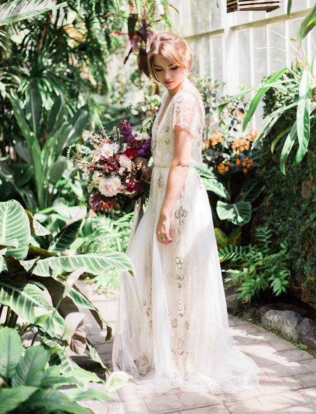 Vintage Botanical Bridal Inspiration Indie Wedding Dress Bridal